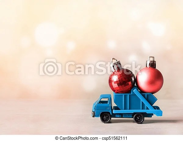 Christmas Decoration Truck Car Carries Decorations For Christmas Trees Christmas Ball