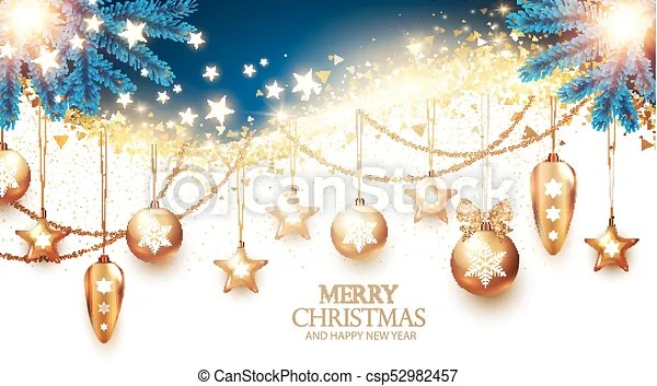 Christmas Design Template With Fir Tree Branches Gold Christmas Toys Stars And Shining Lights On White Background Vector