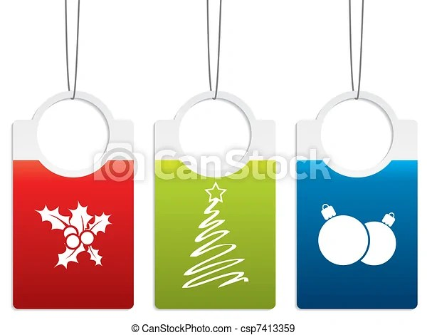 Christmas Label Designs Color Christmas Label Designs With Various Decorations