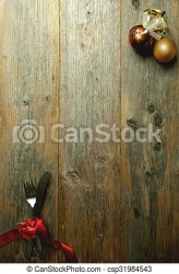 Christmas menu background card Wooden background menu with cutlery tied in red ribbon and xmas baubles CanStock