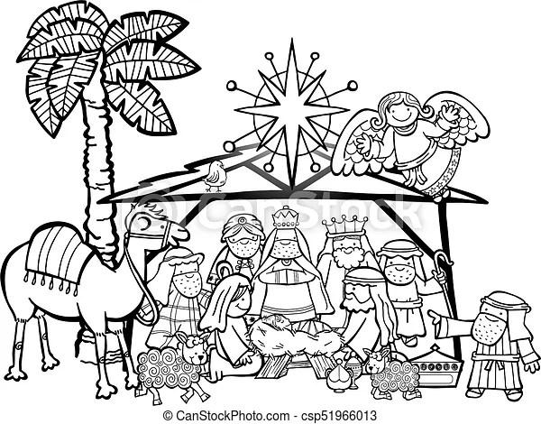 Christmas nativity scene. Hand drawn cartoon doodle