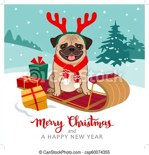 christmas pug dog cartoon illustration
