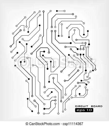 Circuit human head . Circuit abstract human head vector