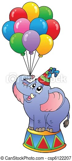 Circus elephant with balloons 1  vector illustration