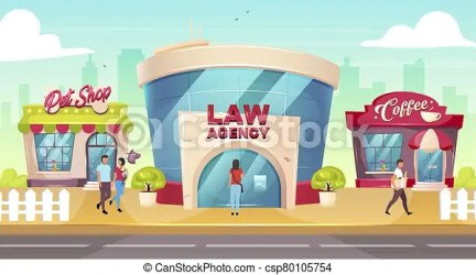 City center flat color vector illustration retail building storefronts with people outside pet shop near road law agency