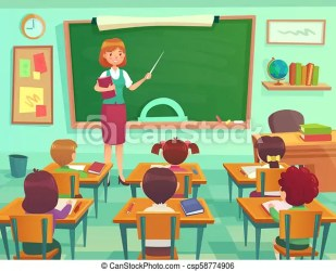 Classroom with kids teacher or professor teaches students in elementary school class student learn on lessons vector CanStock