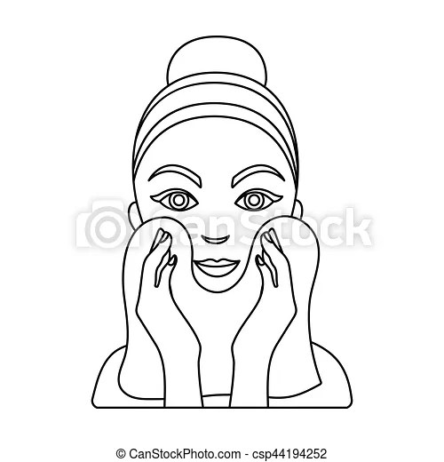 Cleaning of face skin icon in outline style isolated on