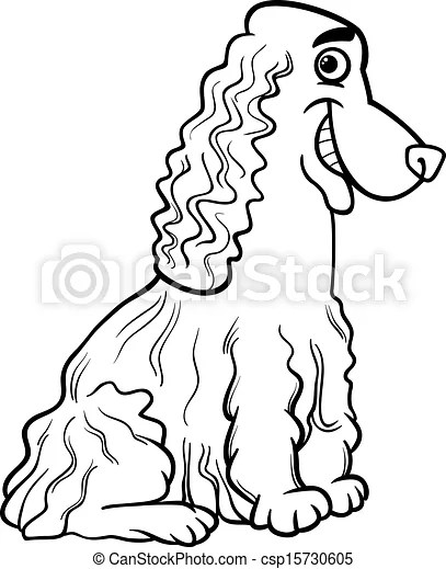 Cocker spaniel cartoon for coloring book. Black and white
