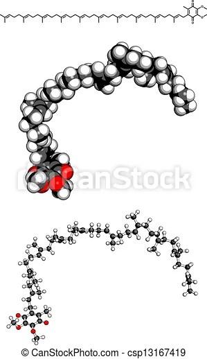 Coenzyme q10 (ubiquinone), molecular model. Coenzyme q10