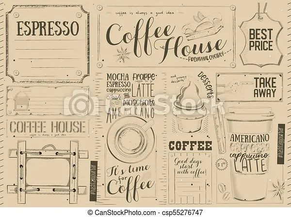 coffee menu placemat