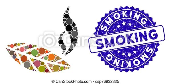 Collage smoking tobacco leaf icon with textured smoking seal. Mosaic smoking tobacco leaf icon and rubber stamp seal with