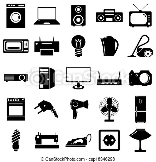 Collection flat icons. electrical devices symbols. vector