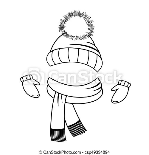 Collection of winter clothing. hat, scarf and mittens