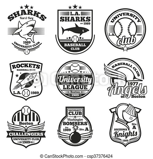 College athletic vector labels, logos, badges and emblems