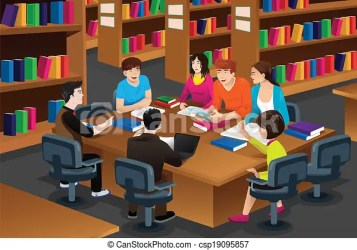 College students studying in the library A vector illustration of college students studying in the library together CanStock