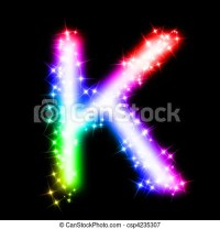 Colorful alphabet letter - k. 3d rendered illustration of ...