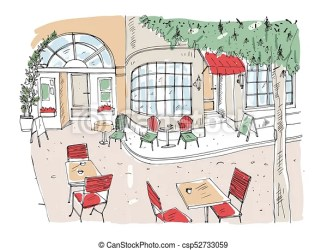 cafe outdoor drawing restaurant colorful rough chairs tables vector standing clipart building windows coffeehouse illustration hand drawings beside street panoramic