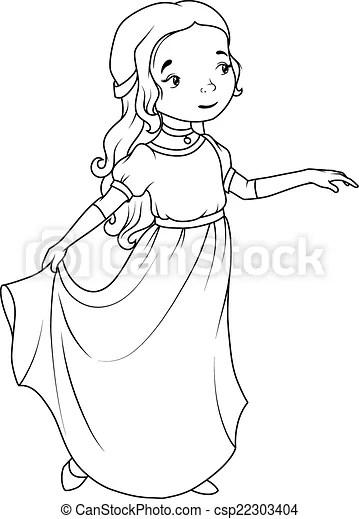 Coloring book: cartoon girl wearing classic long dress.