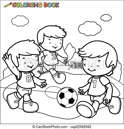 Coloring book soccer kids. . A black and white outline