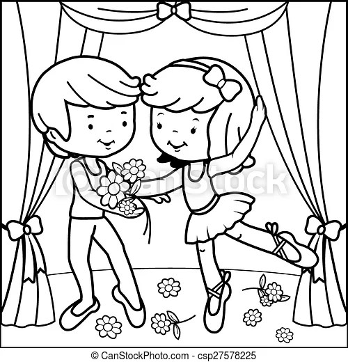 Coloring page ballet dancers. Vector illustration of a