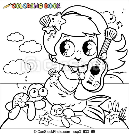 Coloring page mermaid by the sea. Vector illustration of a