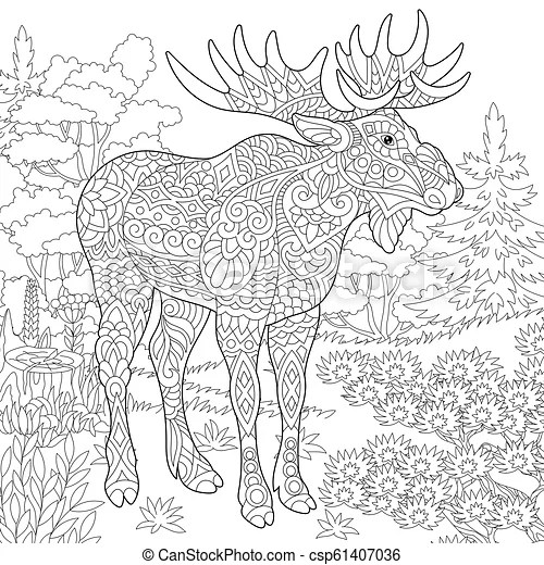 Coloring Page Of Moose Colouring Picture With Moose Freehand Sketch Drawing With Doodle And Zentangle Elements