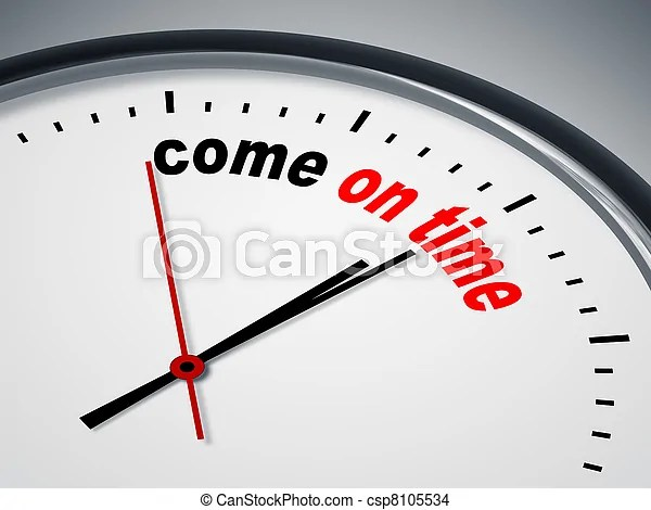 An image of a nice clock with come on time.