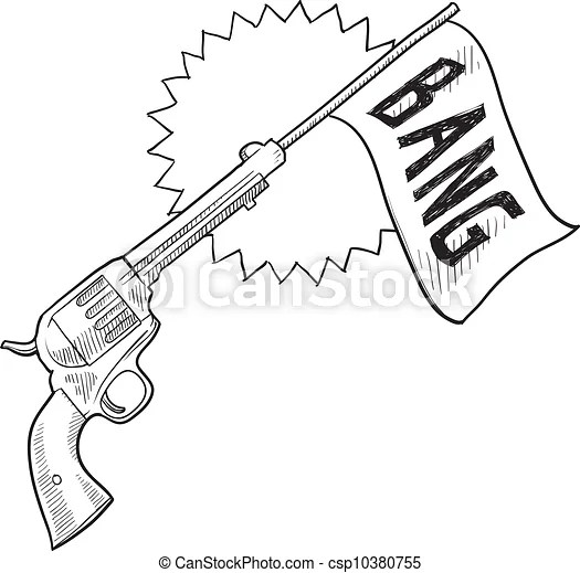 Comic pistol sketch. Doodle style comic pistol with bang