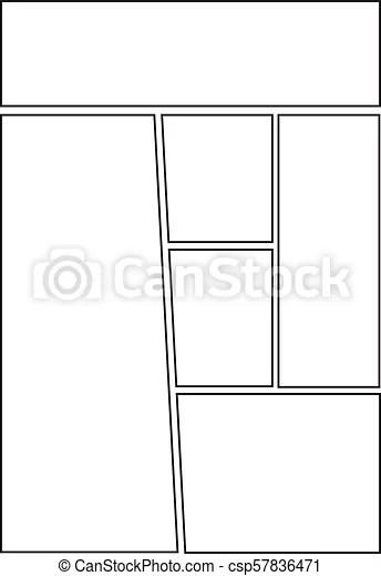 Comic storyboard template layout. Manga storyboard layout