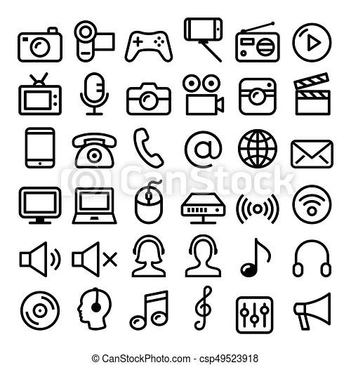 Communication, media, modern technology web line icon set