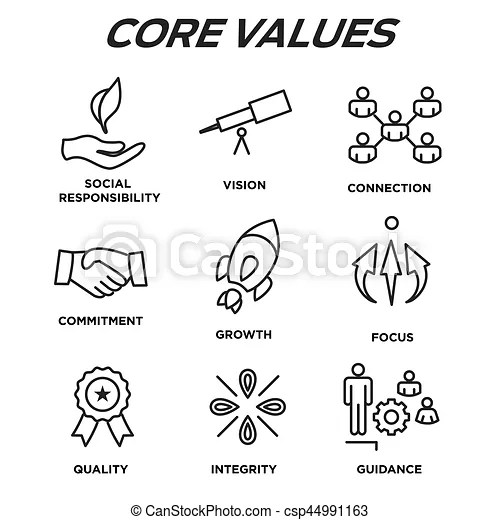 Company core values outline icons for websites or