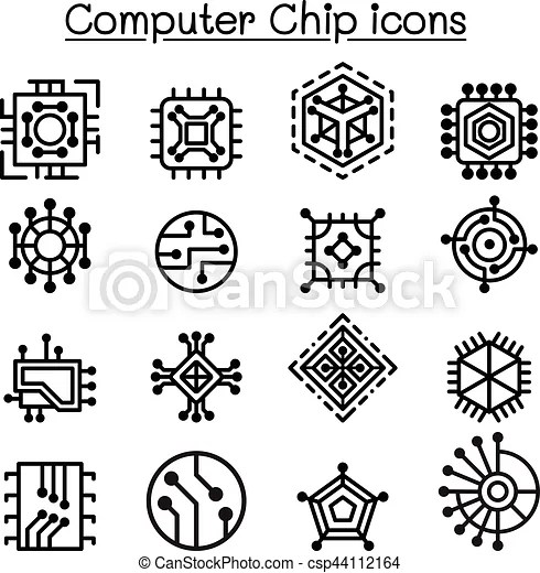 Computer chips and electronic circuit icons in thin line