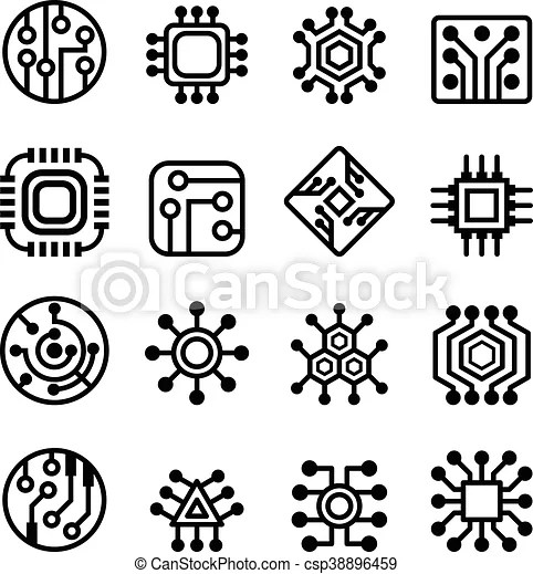 Computer chips and electronic circuit icons.