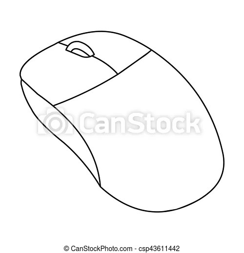 Computer mouse icon in outline style isolated on white