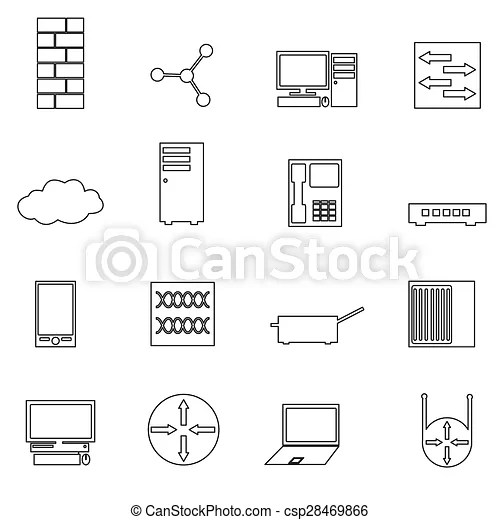Computer network simple outline icons set eps10.