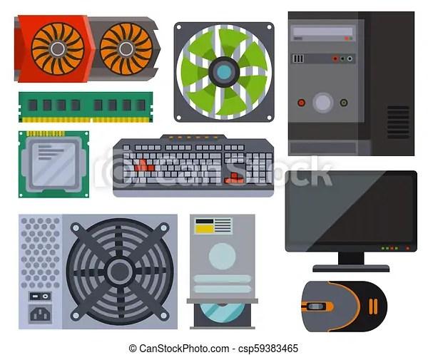 Computer Parts Network Component Accessories Various Electronics Devices Desktop Pc Processor Drive Hardware Vector