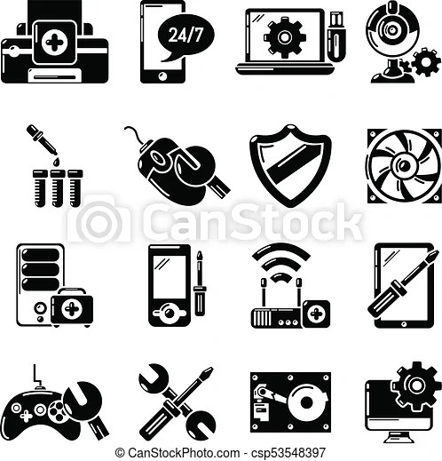 Computer repair service icons set, simple style. Computer