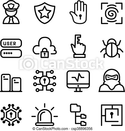 Computer security, network, software icon set in line style.