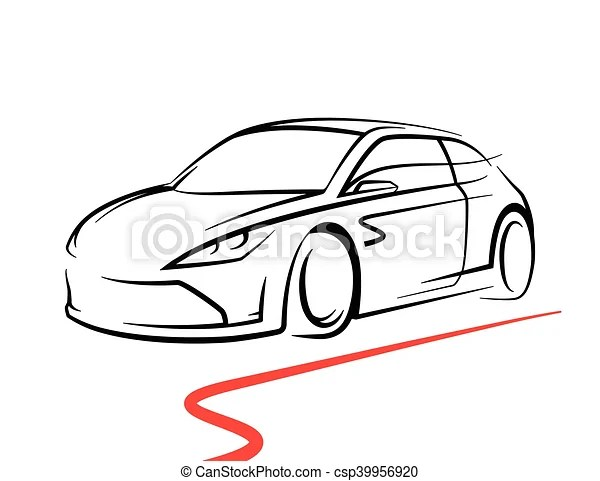 Concept car drawing with supercar sports vehicle line
