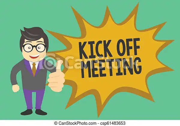 Conceptual hand writing showing kick off meeting. business photo showcasing getting fired from your team private talking about company.
