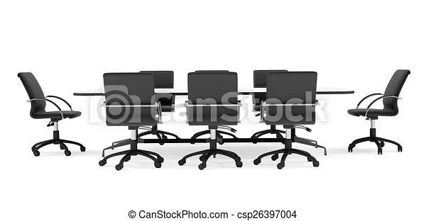 Conference table and black office chairs. front view