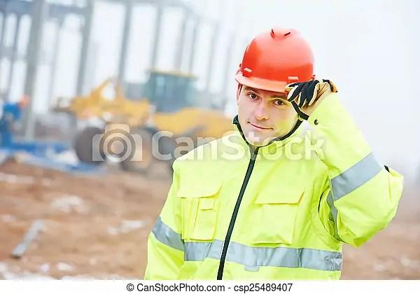 Construction building site foreman. Adult construction manager or building site foreman worker.