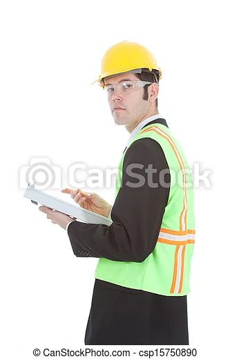 Construction foreman turns to look at you. A construction foreman holding a clipboard turns to look at you. isolated on white.