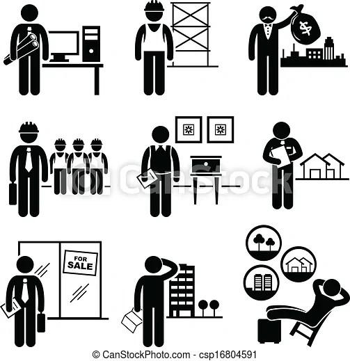 Construction real estates jobs. A set of pictograms