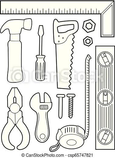 Construction tools coloring illustration. Illustration of