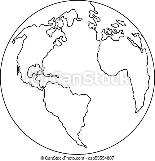 Continent planet icon, outline style. Continent planet