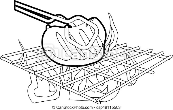Cooking beef on barbecue icon outline. Cooking beef on