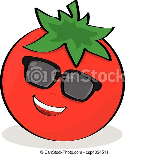 Cool Tomato Cartoon Illustration Of A Cool Tomato Wearing Sunglasses