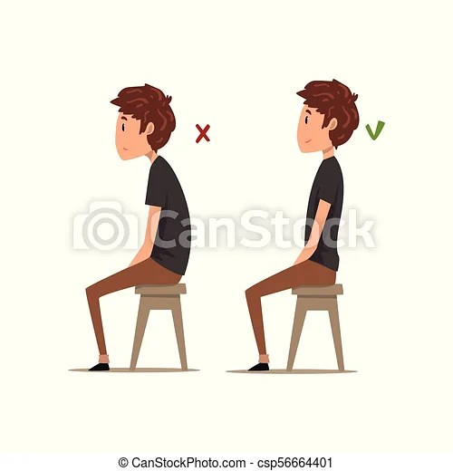 posture chair sitting invacare clinical recliner geri correct and worst positions for boy on the vector