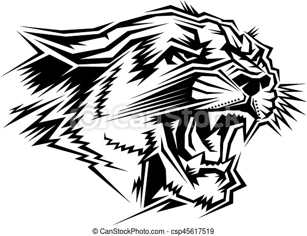 Stylized Cougar Mascot Head For School College Or League